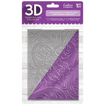 Crafter's Companion LOVE BLOSSOMS 3D Embossing Folder ef5-3d-lblo