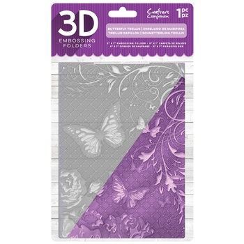 Crafter's Companion BUTTERFLY TRELLIS 3D Embossing Folder ef5-3d-btrel