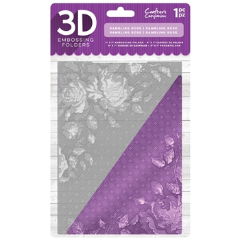 Crafter's Companion RAMBLING ROSE 3D Embossing Folder ef5-3d-rrose