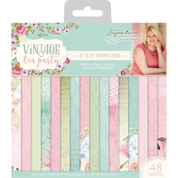 Crafter's Companion VINTAGE TEA PARTY 6 x 6 Paper Pad s-vtp-pad6