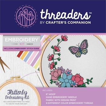 Crafter's Companion FLUTTERBY Threaders Embroidery Kit th-1298