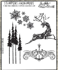 Tim Holtz Cling Rubber Stamps REINDEER FLIGHT Stampers Anonymous CMS052