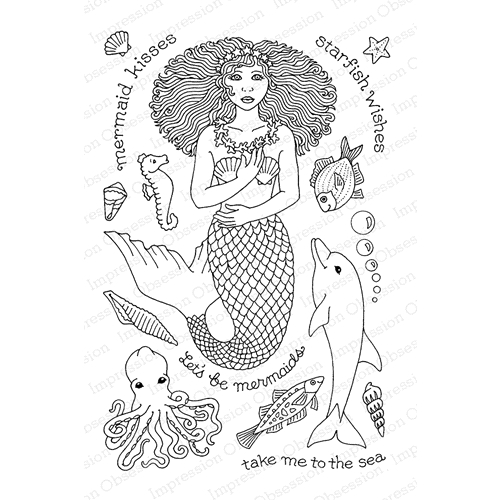 Pink Ink For Impression Obsession Clear Stamp MERMAID KISSES CL876 Preview Image