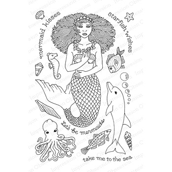 Pink Ink For Impression Obsession Clear Stamp MERMAID KISSES CL876
