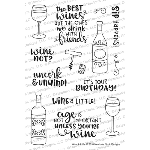 Birthday Cards For Wine Lovers Newtons Nook Designs WINE A LITTLE Clear Stamps NN1806S04 Preview Image Shadow