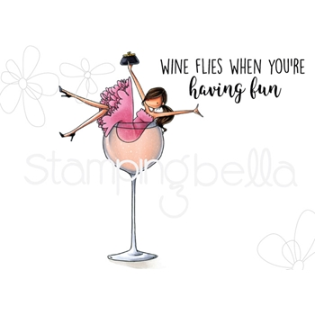Stamping Bella Cling Stamp UPTOWN GIRL WILMA LOVES WINE eb712