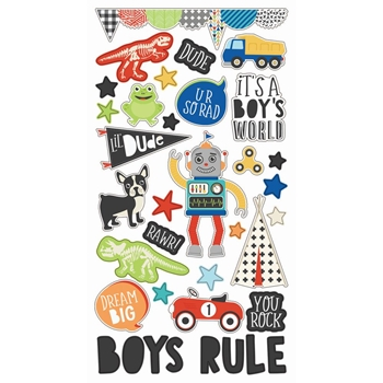Simple Stories LIL DUDE 6 x 12 Chipboard Stickers 10238
