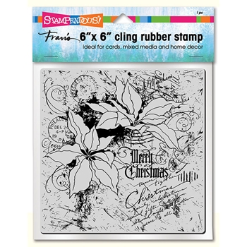 Stampendous Cling Stamp POINSETTIA COLLAGE 6x6 6cr010