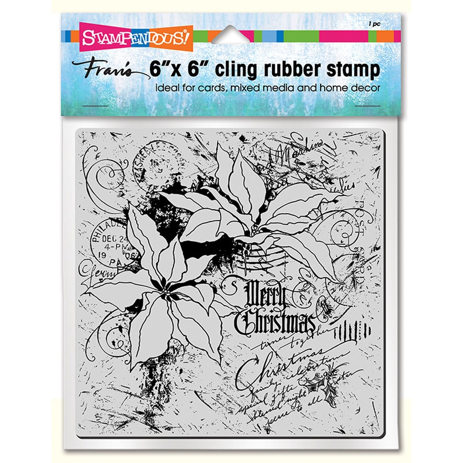 Stampendous Cling Stamp POINSETTIA COLLAGE 6x6 6cr010 zoom image