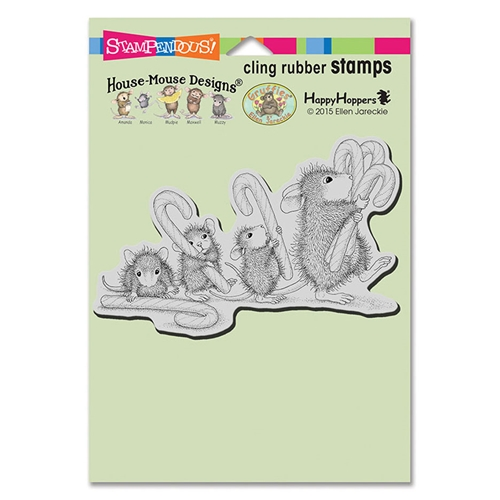 Stampendous, House Mouse, Carrying Candy Canes Cling Stamp