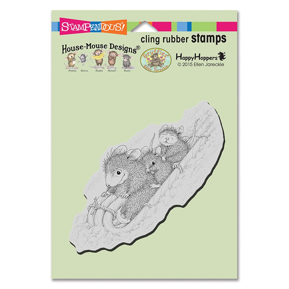 Stampendous, House Mouse Peppermint Sledding Cling Stamp