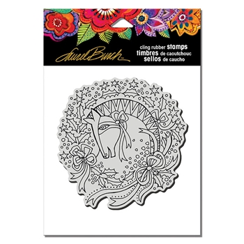 Stampendous Cling Stamp WREATH MARE Laurel Burch lbcw012