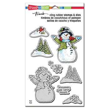 Stampendous SNOWMAN CARDINALS Stamp and Die Set cld12