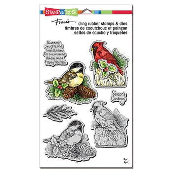 Stampendous HOLIDAY BIRDS Stamp and Die Set cld13
