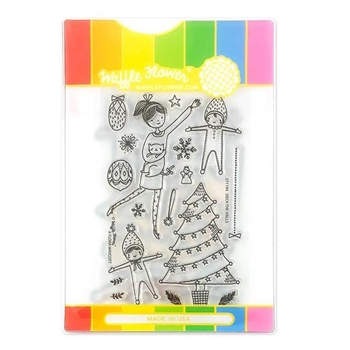 Waffle Flower DECK THE HALLS Clear Stamps and Die Combo WFC194