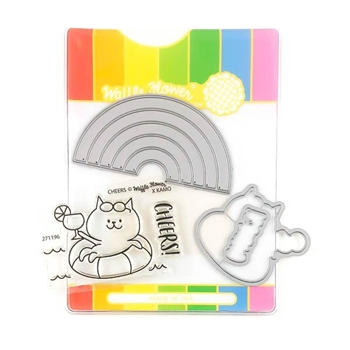Waffle Flower RAINBOW CHEERS Clear Stamps and Die Combo WFC196