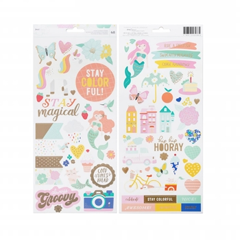 American Crafts Dear Lizzy ACCENTS AND PHRASES Cardstock Stickers Stay Colorful 346486