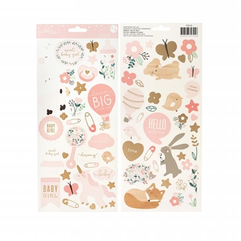 Pebbles Inc. BABY GIRL Cardstock Stickers Night Night 732745