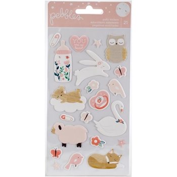 Pebbles Inc. BABY GIRL Puffy Stickers Night Night 732828