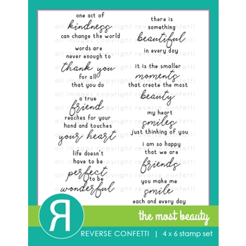 Reverse Confetti THE MOST BEAUTY Clear Stamps