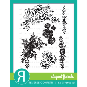 Reverse Confetti ELEGANT FLORALS Clear Stamps