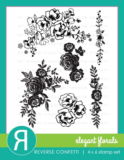 Reverse Confetti ELEGANT FLORALS Clear Stamps  zoom image