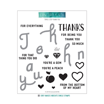 Concord & 9th TRIPLE-STEP THANK YOU Clear Stamp Set 10427