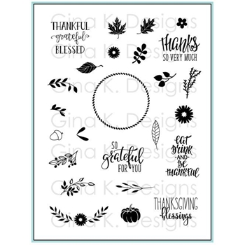 Gina K Designs AUTUMN WREATH BUILDER Clear Stamps 3573