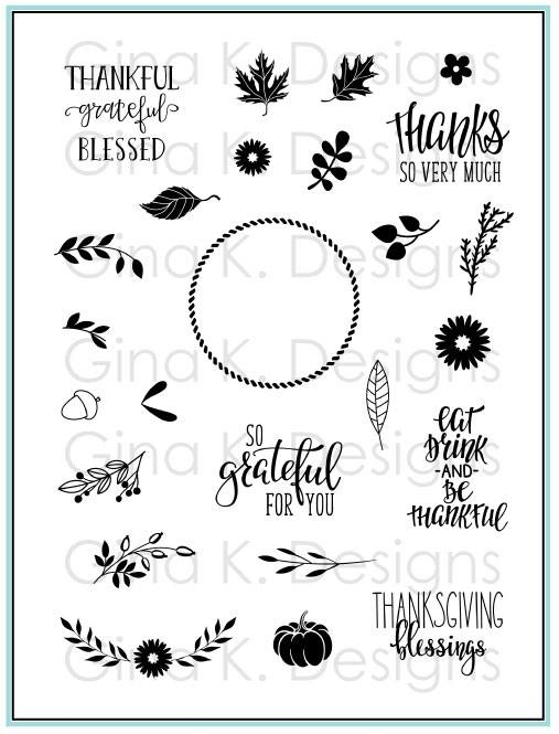Gina K Designs AUTUMN WREATH BUILDER Clear Stamps 3573 zoom image