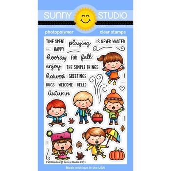 Sunny Studio FALL KIDDOS Clear Stamps SSCL-200