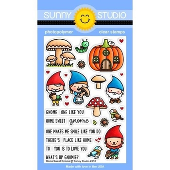 Sunny Studio HOME SWEET GNOME Clear Stamps SSCL-202