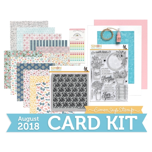 Simon Says Stamp Card Kit of The Month AUGUST 2018 MANDY'S FLOWERS ck0818 Preview Image