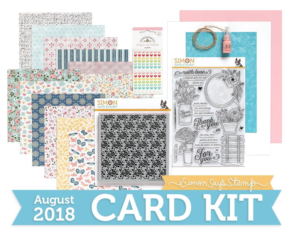 Simon Says Stamp Card Kit of The Month AUGUST 2018 MANDY'S FLOWERS ck0818 zoom image