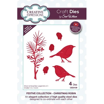 Creative Expressions CHRISTMAS ROBIN Sue Wilson Festive Collection Die ced3129