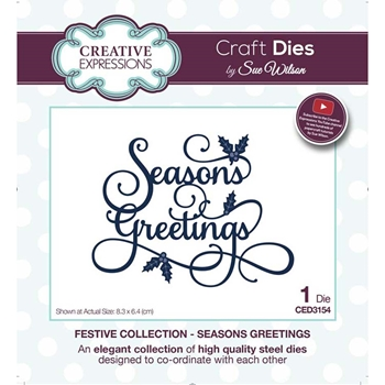 Creative Expressions SEASONS GREETINGS Sue Wilson Festive Collection Die ced3154