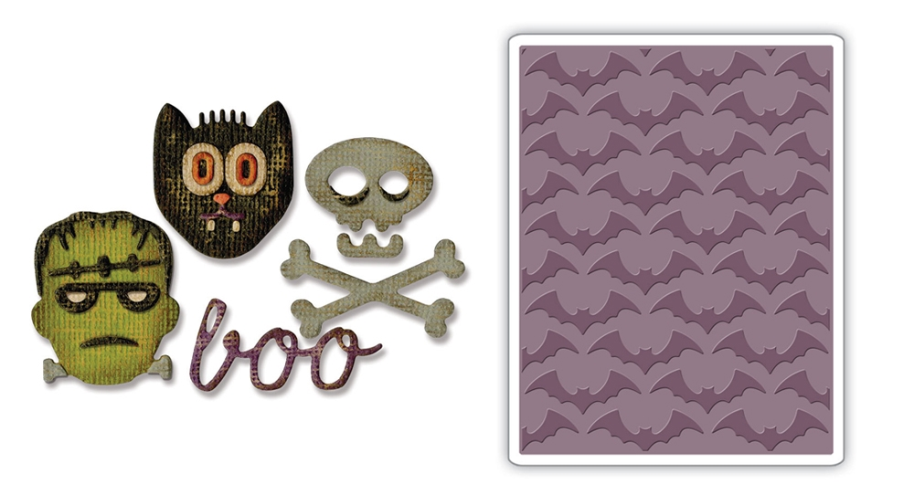 Tim Holtz Sizzix HALLOWEEN Side-Order Thinlits and Embossing Folder 663072 zoom image