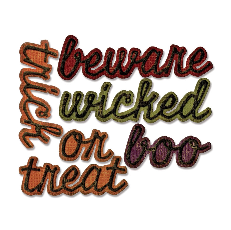 Tim Holtz Sizzix SHADOW SCRIPT HALLOWEEN Thinlits Die Set 663093 zoom image