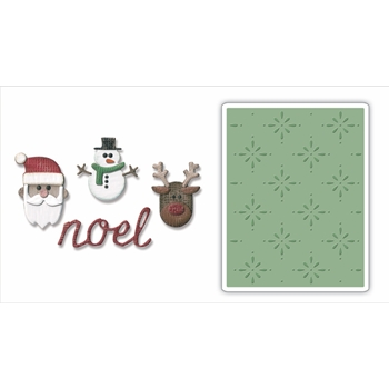 Tim Holtz Sizzix CHRISTMAS Side-Order Thinlits and Embossing Folder 663112
