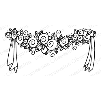 Impression Obsession Cling Stamp WEDDING GARLAND D21069