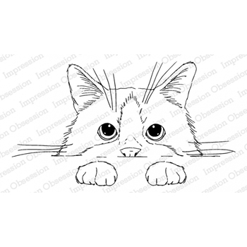 Impression Obsession Cling Stamp PEEKING KITTY 3203-MD
