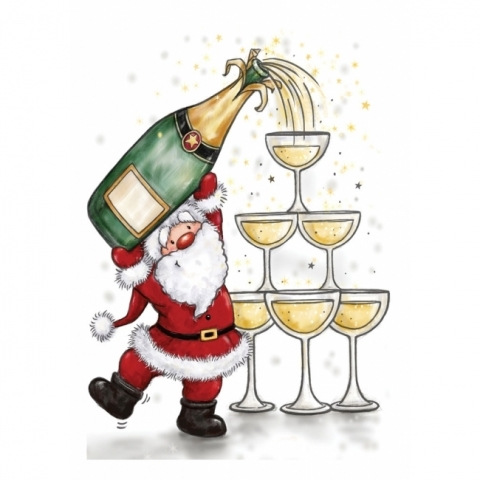 Wild Rose Studio Santa With Champagne