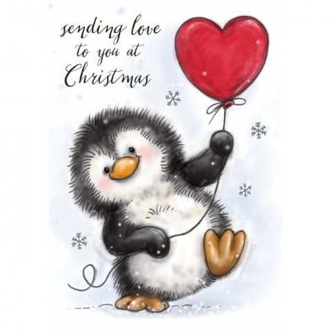 Wild Rose Studio, Penguin With Heart Clear Stamp Set