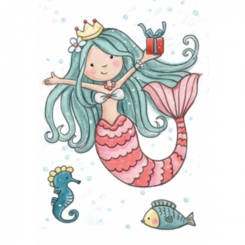 Wild Rose Studio MERMAID BIRTHDAY Clear Stamp Set CL520