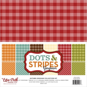 Echo Park AUTUMN GINGHAM DOTS AND STRIPES 12 x 12 Collection Kit gh18037