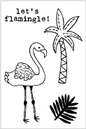 Flora and Fauna MINI FLAMINGLE Clear Stamps 20191