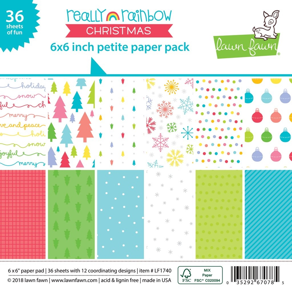 Lawn Fawn REALLY RAINBOW CHRISTMAS 6x6 Inch Petite Paper Pack LF1740 zoom image