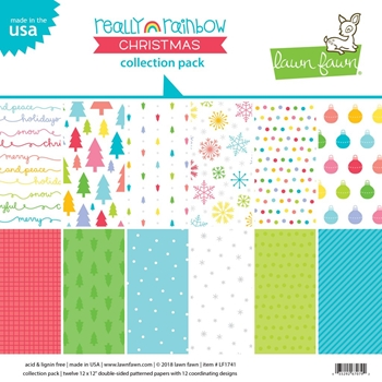 Lawn Fawn REALLY RAINBOW CHRISTMAS 12x12 Inch Collection Pack LF1741