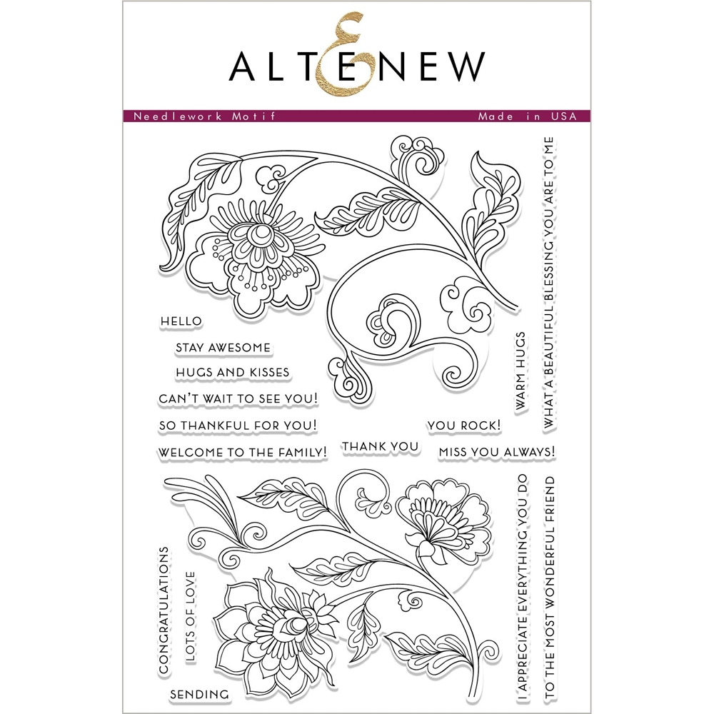 Altenew NEEDLEWORK MOTIF Clear Stamps ALT2427 zoom image