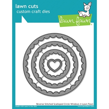 RESERVE Lawn Fawn REVERSE STITCHED SCALLOPED CIRCLE WINDOWS Die Cuts LF1801