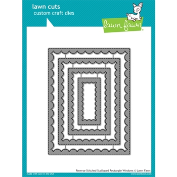 Lawn Fawn REVERSE STITCHED SCALLOPED RECTANGLE WINDOWS Die Cuts LF1800